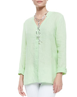 Eileen Fisher Handkerchief Linen V-Neck Shirt