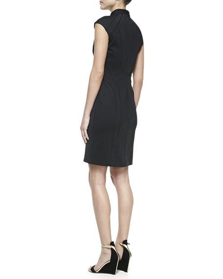 Cap-Sleeve Scuba Sheath Dress