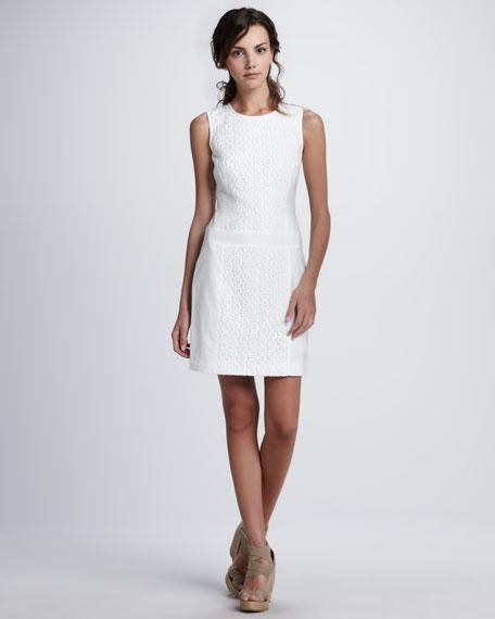 Lace-Detail Linen Dress
