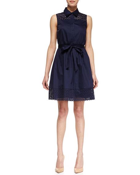 Laser-Cut Poplin Dress