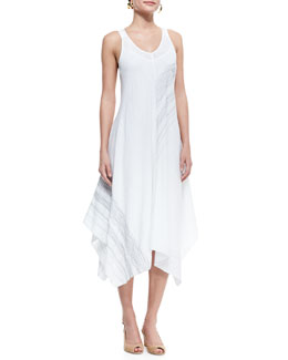Eileen Fisher Sleeveless V-Neck Asymmetric Dress, White, Petite