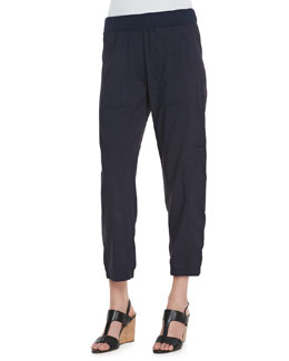 Eileen Fisher Cargo Linen-Blend Ankle Pants, Midnight, Women's