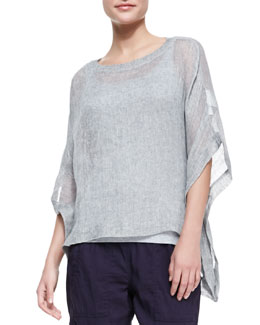 Eileen Fisher Woven Short-Sleeve Poncho Top, Women's