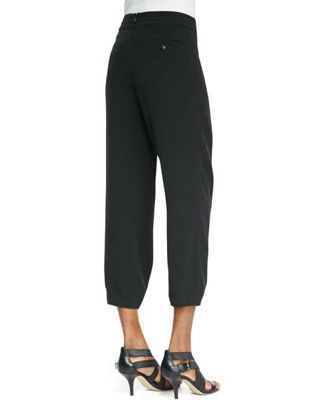 Silk Drawstring Cropped Pants, Petite