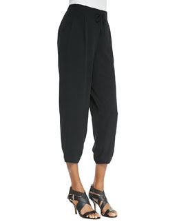 Eileen Fisher Silk Drawstring Cropped Pants, Petite