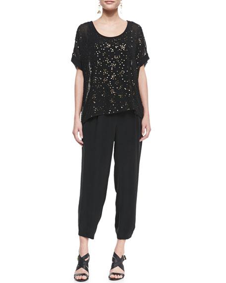 Silk Drawstring Cropped Pants, Women's