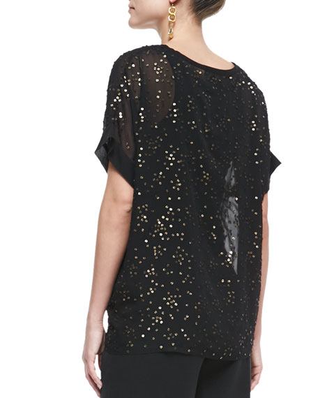Sequined Chiffon Boxy Top, Black, Women's