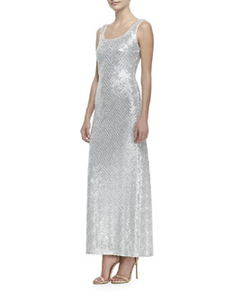 Laundry by Shelli Segal Sleeveless Sequined Long Tank Dress