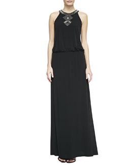 Laundry by Shelli Segal Sequined-Trim Halter Blouson Gown, Black