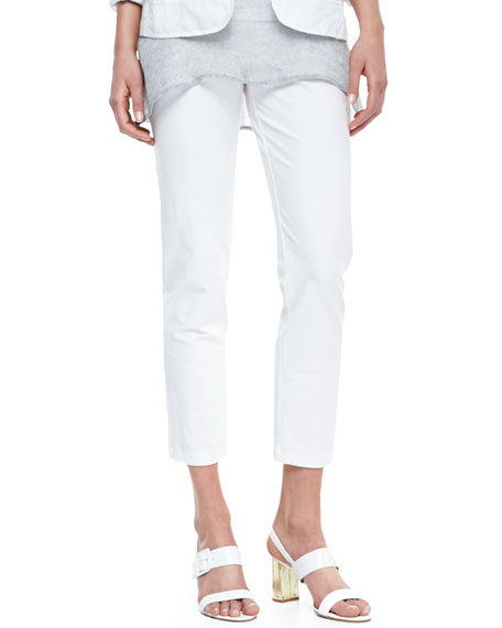 Eileen Fisher Washable Stretch-Crepe Ankle Pants, White