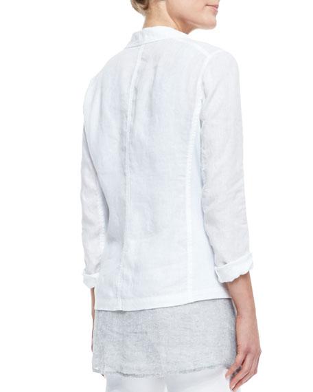 Handkerchief Linen 2-Button Jacket, Midnight, Women's