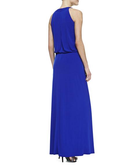 Sequined-Trim Halter Blouson Gown, Twilight Blue