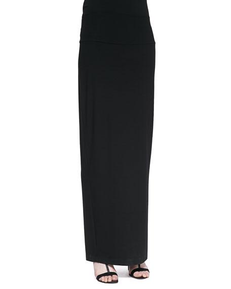 Fold-Over Maxi Skirt, Black, Petite