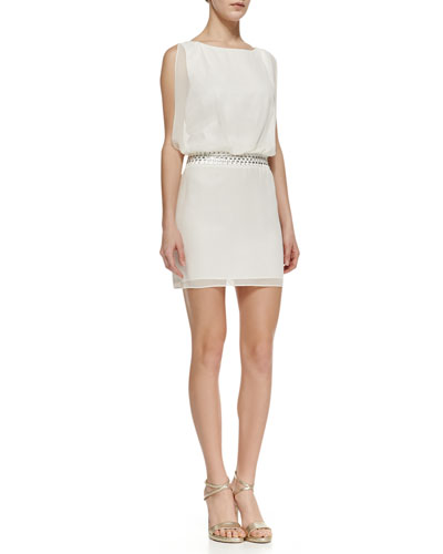 Laundry by Shelli Segal Beaded-Band Blouson Dress
