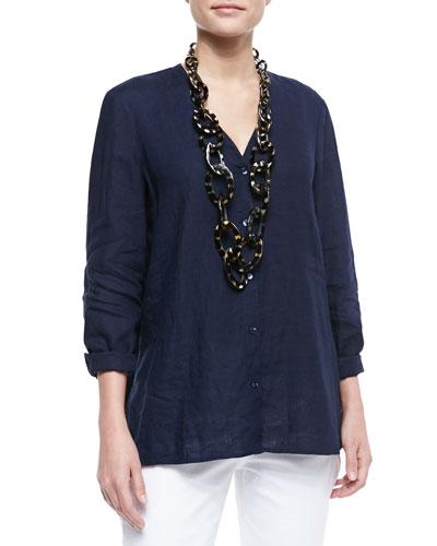 Eileen Fisher Handkerchief Linen V-Neck Shirt, Petite