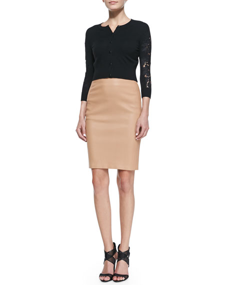 Marta Paneled Leather Pencil Skirt