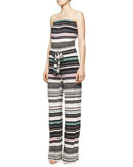 Diane von Furstenberg Ani Strapless Banded Dot Jumpsuit, Multicolor