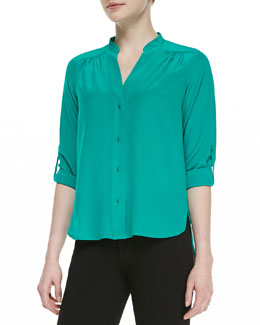 Diane von Furstenberg Harlow Long-Sleeve Pleated Shoulder-Blouse, Zephyr Green