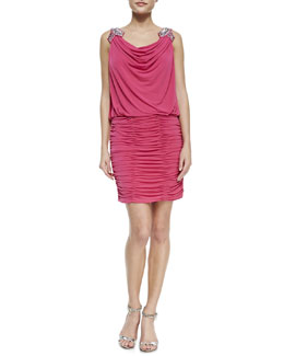 Laundry by Shelli Segal Embellished-Shoulder Dress, Watermelon