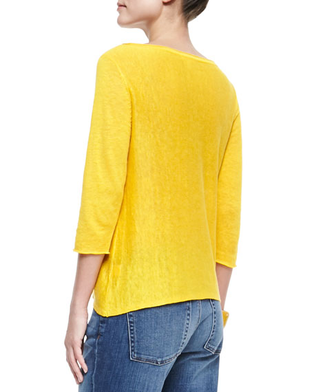 3/4-Sleeve Lightweight Linen Top