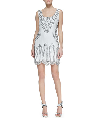 Phoebe by Kay Unger Sleeveless Scoop-Neck Beaded-Point Cocktail Dress, White