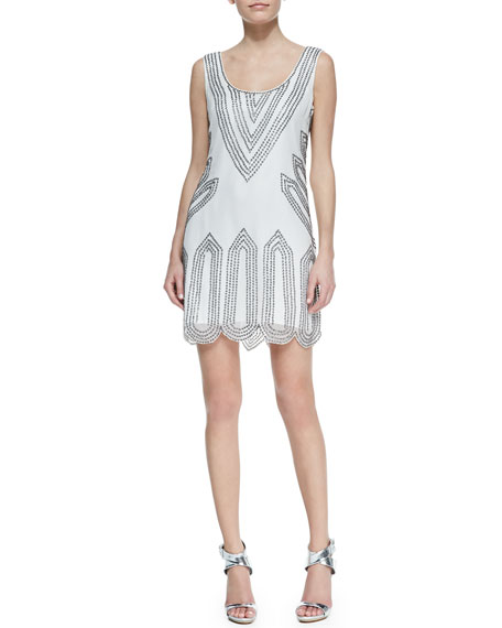 Sleeveless Scoop-Neck Beaded-Point Cocktail Dress, White
