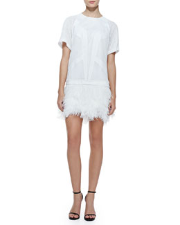 Robert Rodriguez Tribal Silk/Jersey Combo Ostrich Feather Dress