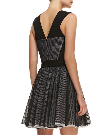 Lace Zebra-Stripe Sleeveless Fit-and-Flare Dress