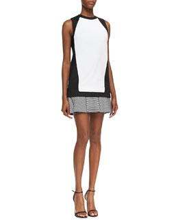 Robert Rodriguez Knit Stripe-Flounce Sheath Dress