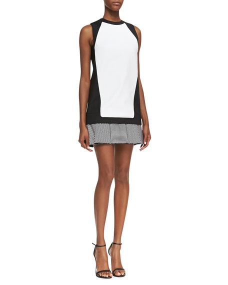 Knit Stripe-Flounce Sheath Dress