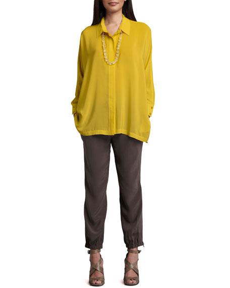 Silk Cargo Cropped Pants, Women's