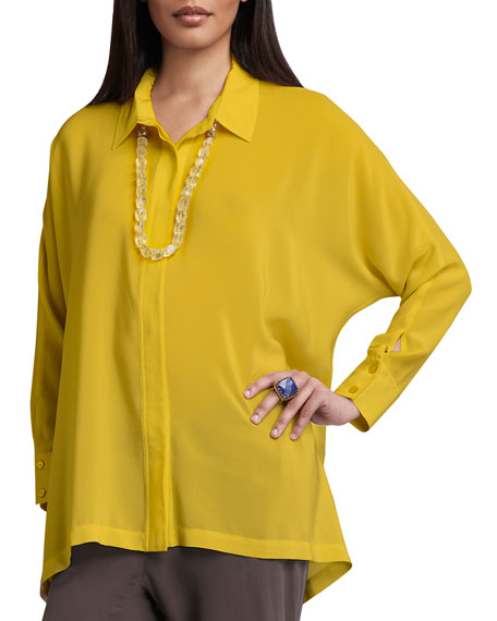 Long-Sleeve Boxy Silk Blouse, Women's