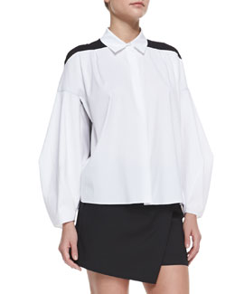 Robert Rodriguez Poplin & Silk Combo Illusion Long-Sleeve Shirt