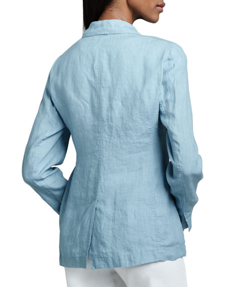Linen One-Button Jacket, Petite