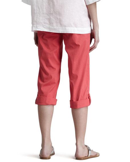 Cuffed Twill Capri Pants, Strawberry, Women's