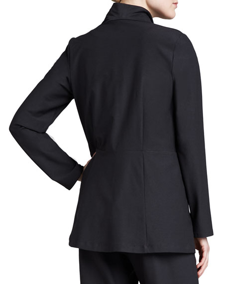 Long Washable Crepe Shawl-Collar Jacket, Petite
