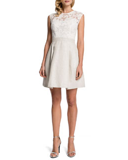 Cynthia Steffe Andy Mixed Media Fit-and-Flare Dress