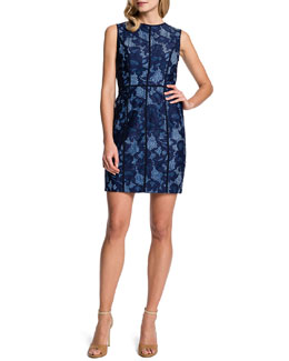 Cynthia Steffe Elenora Sleeveless Seamed Lace Sheath Dress