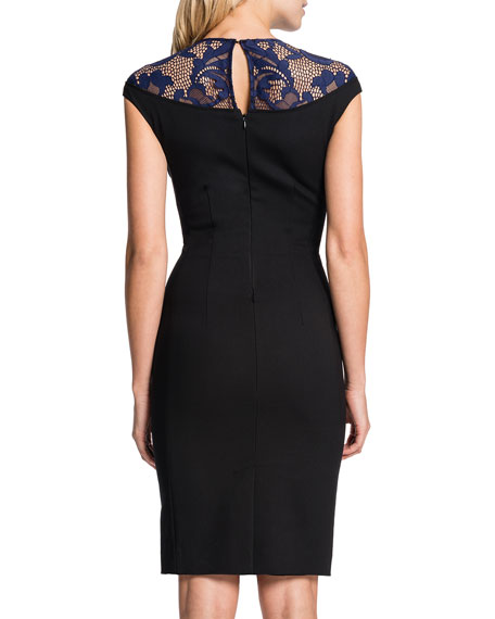 Linsey Lace-Yoke Sheath Dress