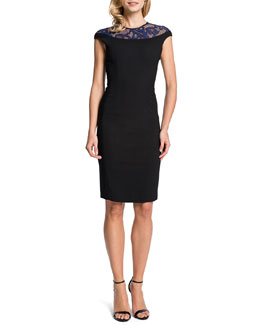 Cynthia Steffe Linsey Lace-Yoke Sheath Dress