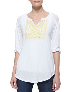 Miraclebody Emily Embroidered Peasant Top