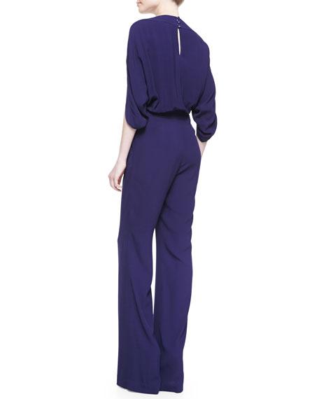 Dezi Woven Boat-Neck Jumpsuit, Purple Haze