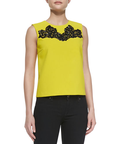 Diane von Furstenberg Betty Tank with Embroidered Neck
