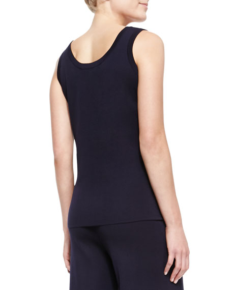 Slim Scoop-Neck Tank, Navy, Petite
