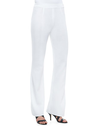 Boot-Cut Knit Pants, White, Women's