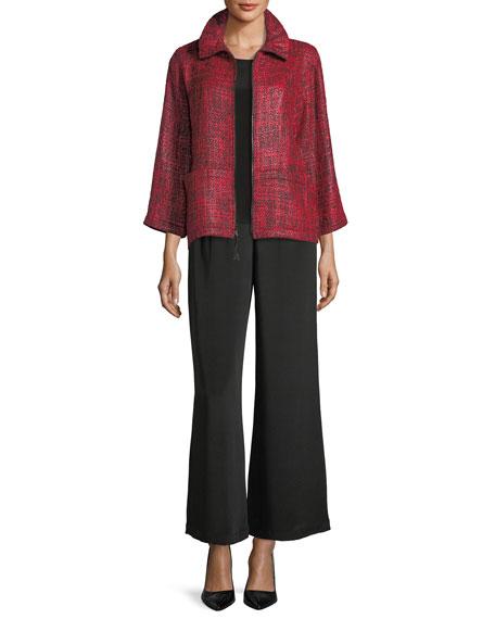 Silk Crepe Wide-Leg Pants, Plus Size