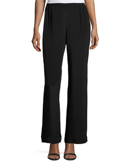 Caroline Rose Silk Crepe Wide-Leg Pants, Black