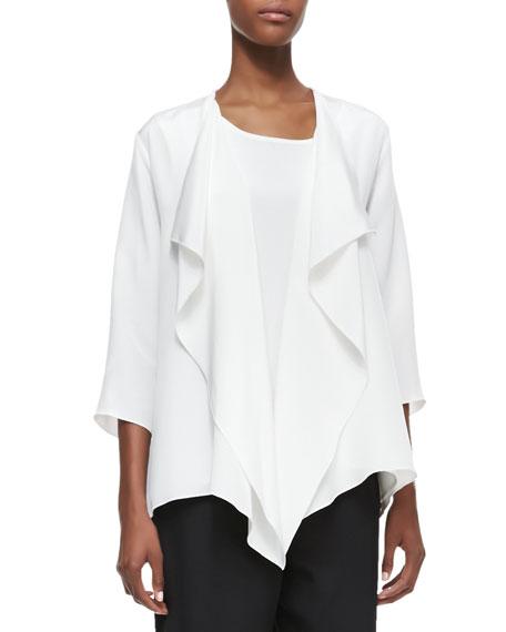 Silk Crepe Drape Jacket, Women's