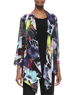 Caroline Rose Long Printed Waterfall Jacket, Petite