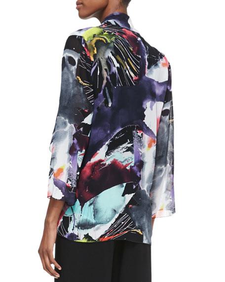Long Explosive-Print Waterfall Jacket, Women's
